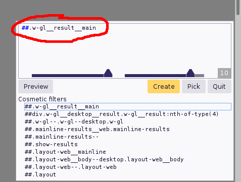 uBlock filter editor